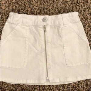 Girls White Denim Skirt